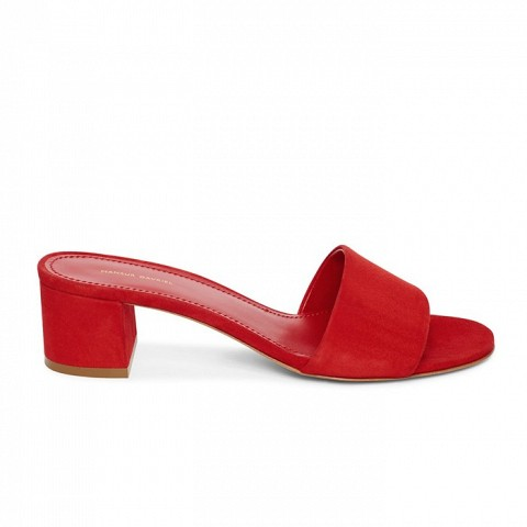 bd3393dc08c Suede 40MM Single Strap Sandal in Flamma. 10 Outfits to Wear Before Summer  Is Officially Over