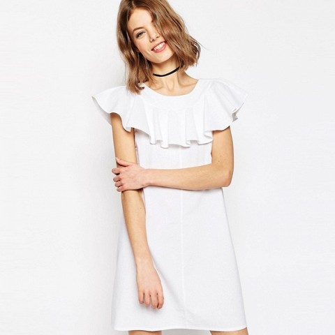 Shift Dress With Frill Neck Detail