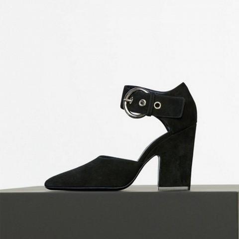 Curved Heel Mary Jane Pump in Black Suede Kidskin