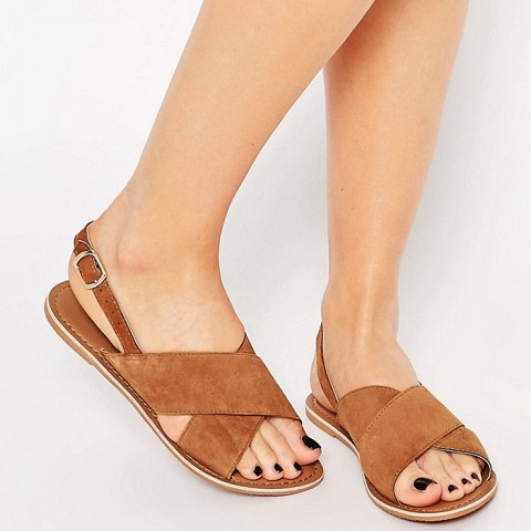 New Look Real Leather Cross Strap Sandal
