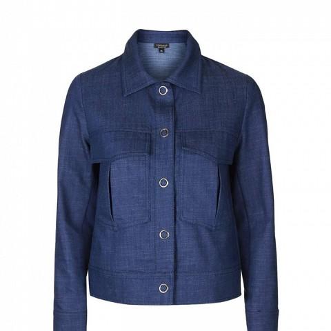Denim-Look Harrington Jacket