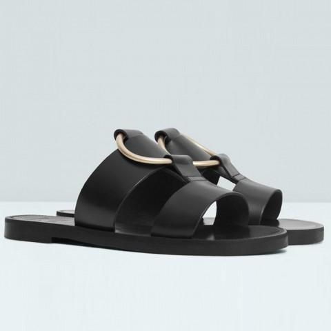 Applique Leather Sandals