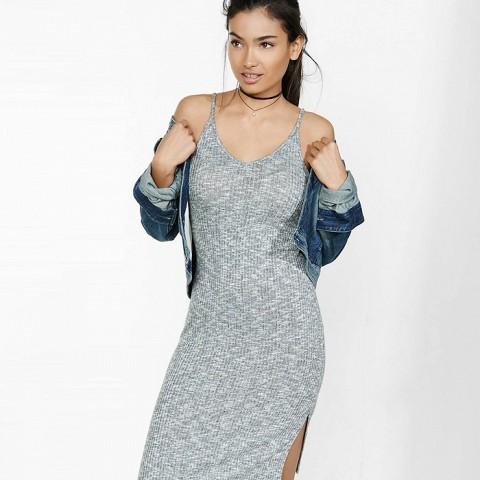 Marled Ribbed Cami Slip Dress