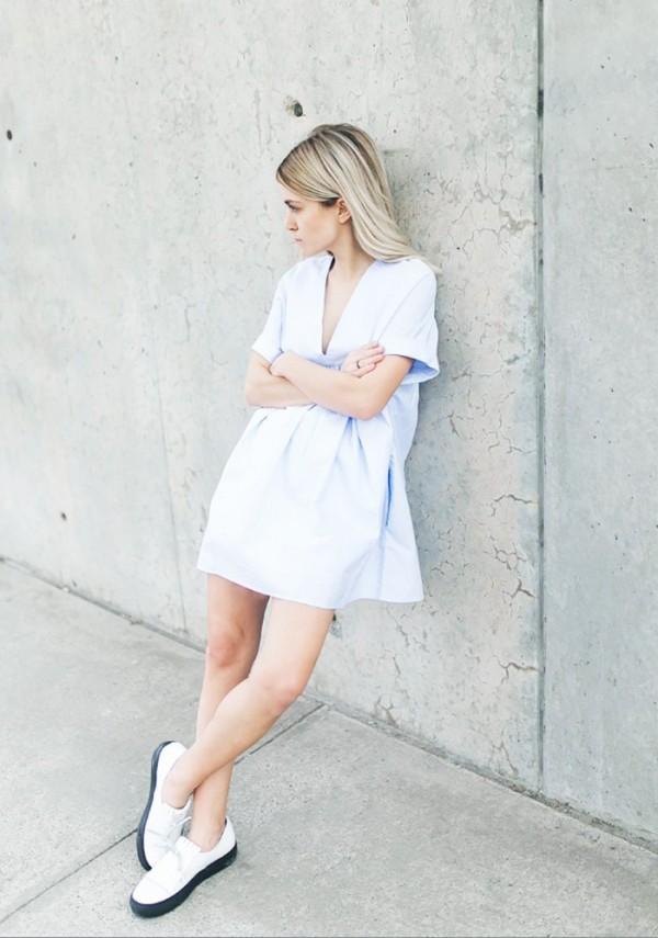 On Jessie Frederick: Zara Low-Cut Jumpsuit Dress ($50); Atelje 71 shoes.