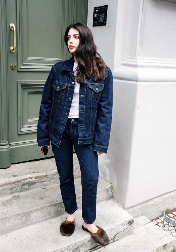 On Laura Matuszczyk: Levi's 501 CT Trucker Jacket and jeans; H&M T-shirt; Avec Moderation Slippers ($330).