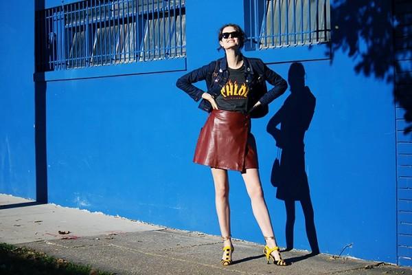 On Chloe Hill: Levi's customized jacket; Stylestalker top; Epokhe sunglasses; Prada Multi-Strap Mixed Media Sandals ($607).