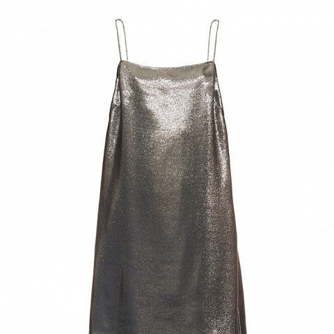 Square-Neck Lame Cami Dress