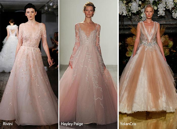 Fall 2017 Bridal Fashion Trends Blush Pink Wedding Dresses