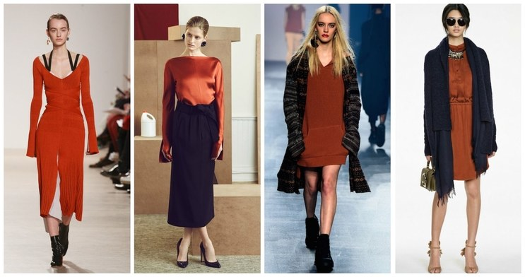 Your obsession with Starbucks' epic Pumpkin Spice Latte just went to the next level. Nearly every collection featured the muted orange color—and it looked flattering on tons of different skin tones.    *From left: Proenza Schouler, Protagonist, Baja East, and Banana Republic*