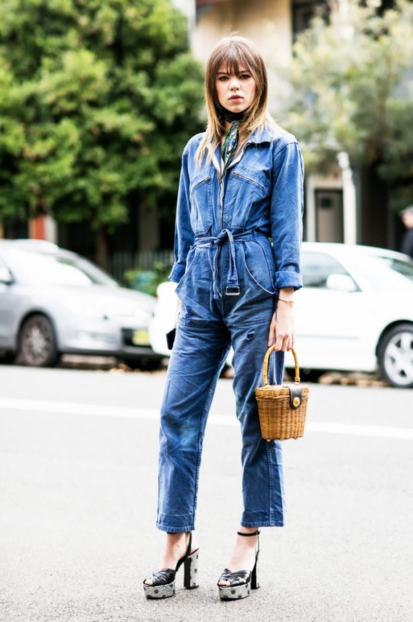 Denim Jumpsuit + Neck Tie + Pumps