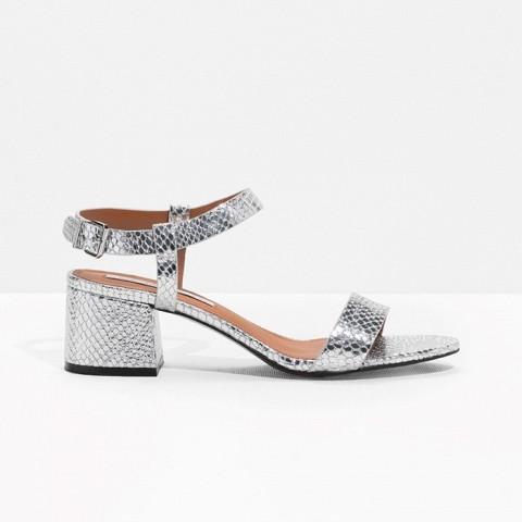 Croco-Embossed Strap Sandal