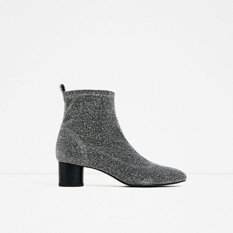Shiny Sock Ankle Boot