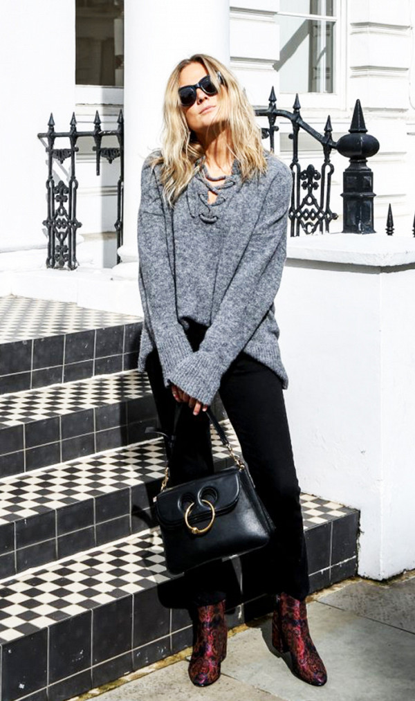 fall outfits street style gray sweater