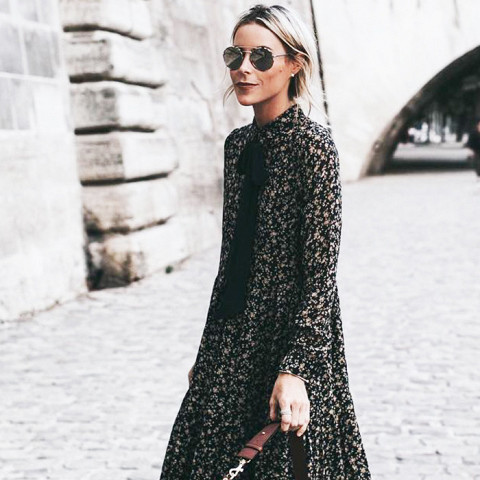 Dark florals are everywhere this fall, especially in the form of maxi dresses.