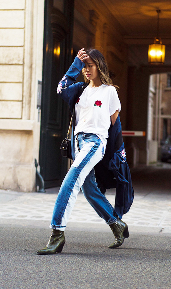 fall outfits street style aimee song robe coat statement jeans