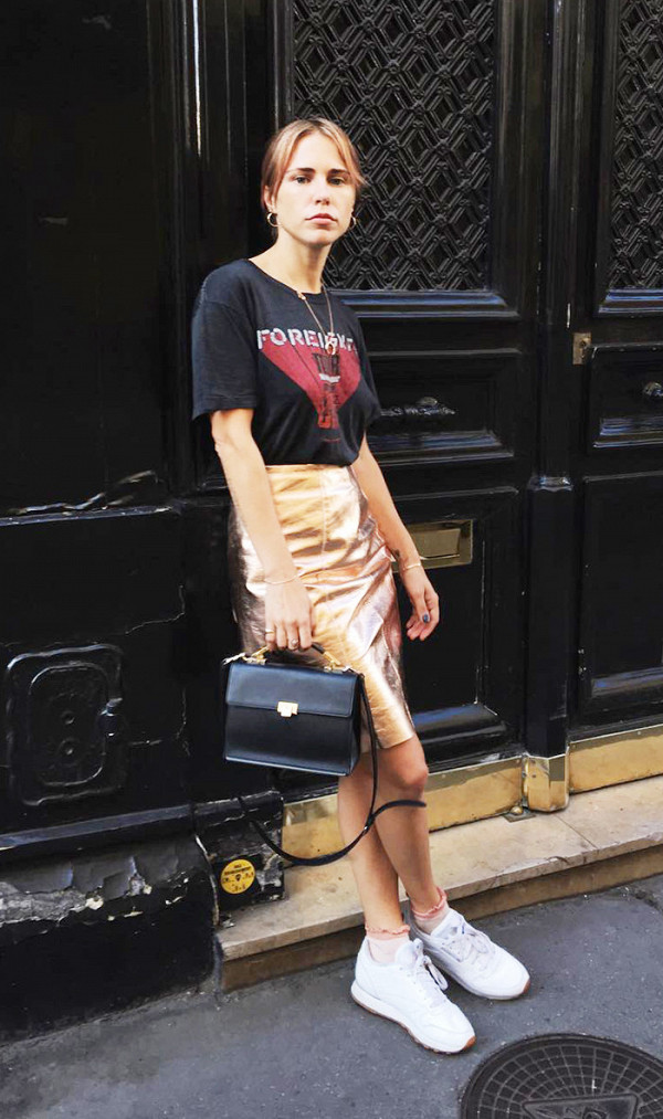 fall outfits street style metallic skirt