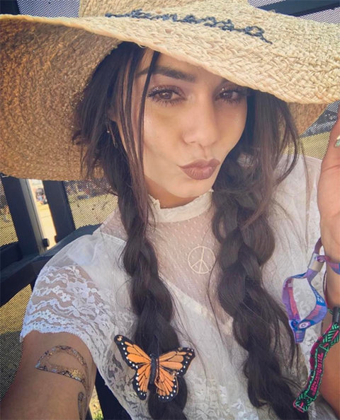 Vanessa Hudgens Monogrammed Hand Embroidered Sun Hat