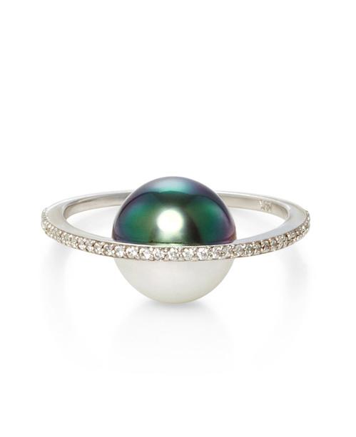 Bague Pearl Orbit de Nataf Joaillerie en or blanc, perle et diamants