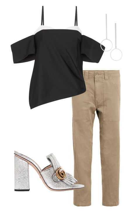 Don't let the color fool you—khaki pants can be just as chic as traditional blackonce the sun goes down.Just add a metallic shoe, bold earrings, and a standout top.  Vince military pants, $245,nordstrom.com; Tibi top, $395, nordstrom.com; Gucci shoes, $795, gucci.com; Jenny Bird earrings, $65, nordstrom.com