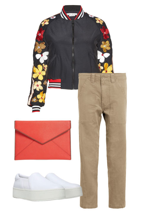 Keep your khakis cool with a sporty bomber jacket and a hip little clutch. Opt for slip-on sneakers that veersleek rather than gym-ready.Vince military pants, $245,nordstrom.com; Alice + Olivia jacket, $595, nordstrom.com; Vince sneakers, $225, nordstrom.com; Rebecca Minkoff clutch, $95, nordstrom.com