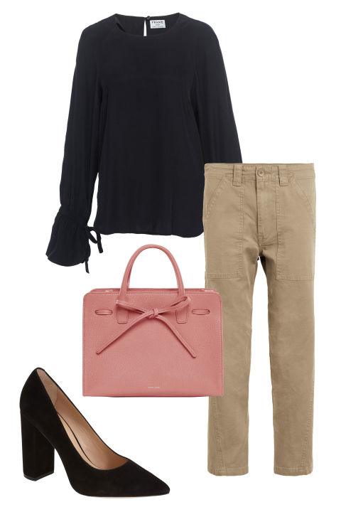 Beige pants stand in for trouserswhen paired with suede, pointy-toe pumps and a ladylike bag. Look for a blouse with floaty, gatheredsleevesforfemininity that tempers the khaki's tomboy feel.  Vince military pants, $245,nordstrom.com; Frame top, $275, nordstrom.com; Pour la Victoire pumps, $274.95, nordstrom.com; Mansur Gavriel bag, $1,095, mansurgavriel.com