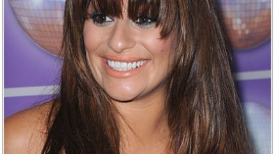 Lea Michele Long Straight Hairstyle with Bangs.